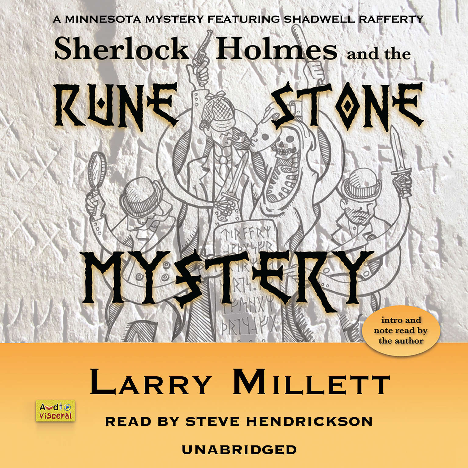 Printable Sherlock Holmes and the Rune Stone Mystery: A Minnesota Mystery Featuring Shadwell Rafferty Audiobook Cover Art