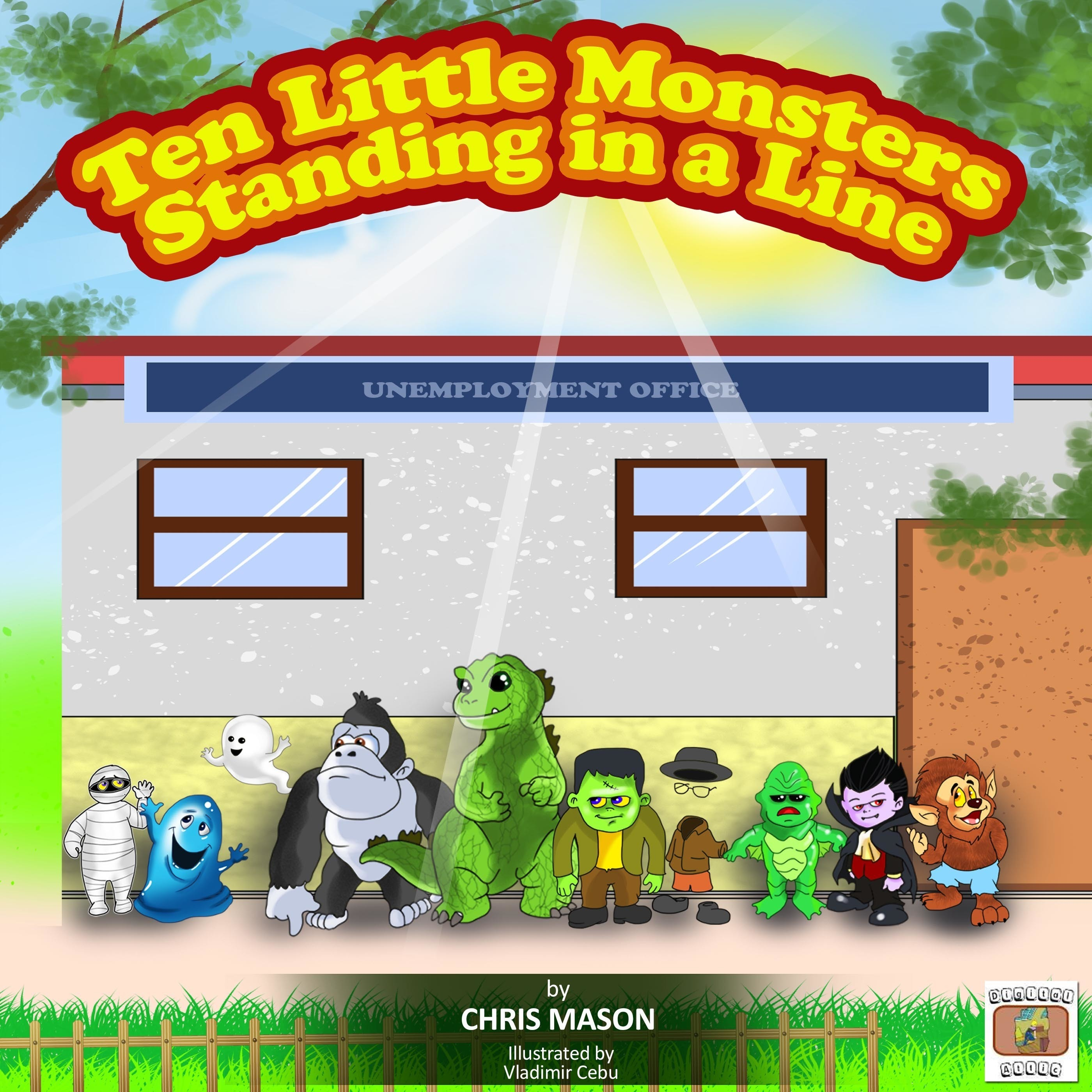 Printable Ten Little Monsters Standing in a Line Audiobook Cover Art