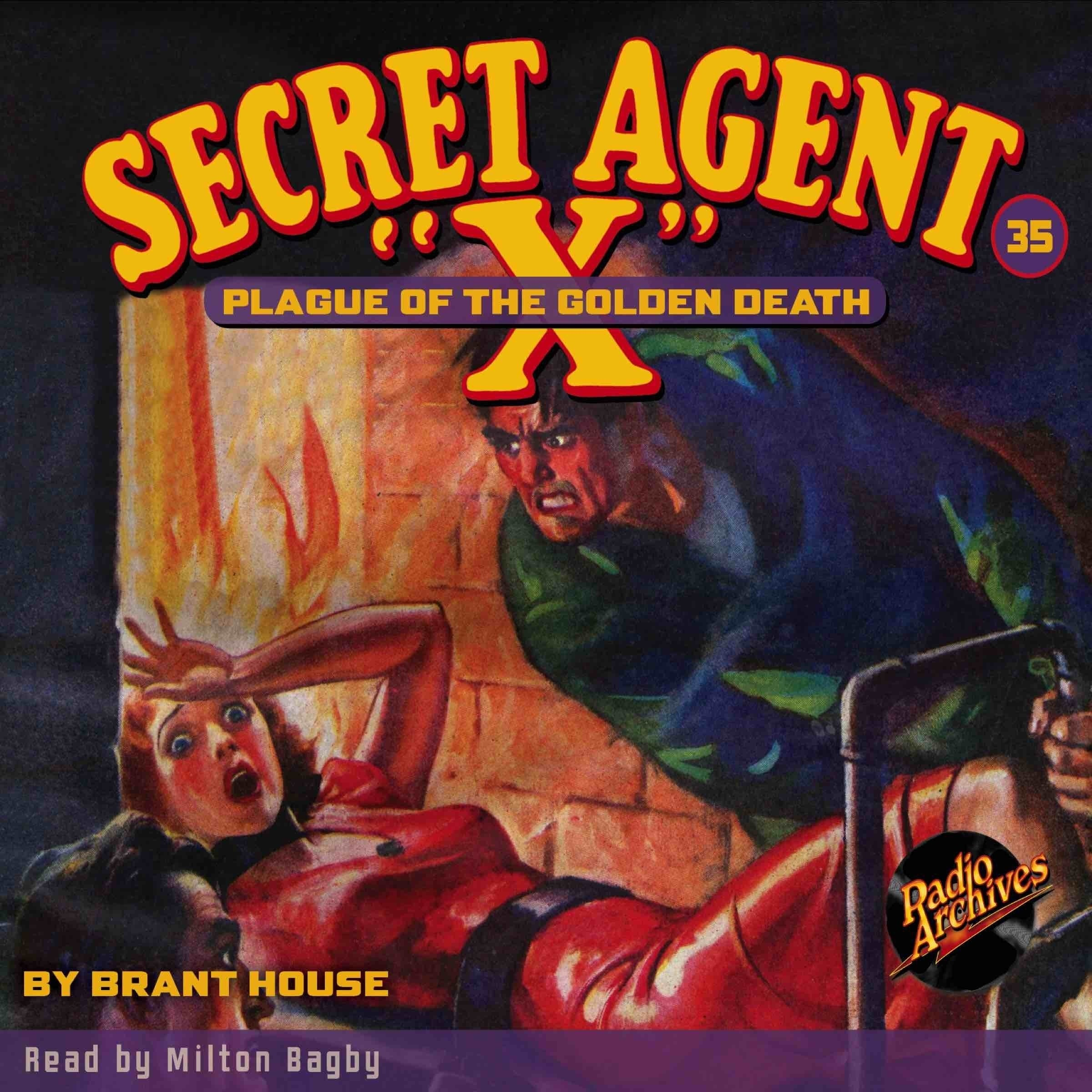 Printable Secret Agent 'X': Plague of the Golden Death Audiobook Cover Art