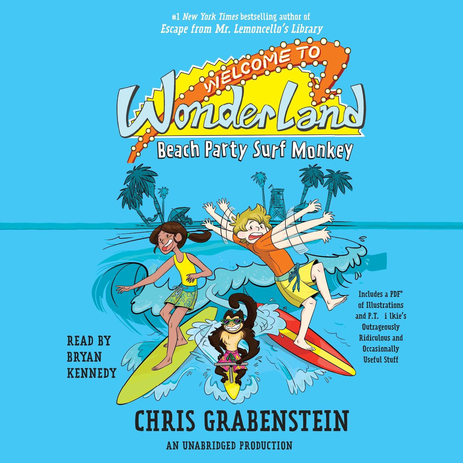Printable Welcome to Wonderland #2: Beach Party Surf Monkey Audiobook Cover Art