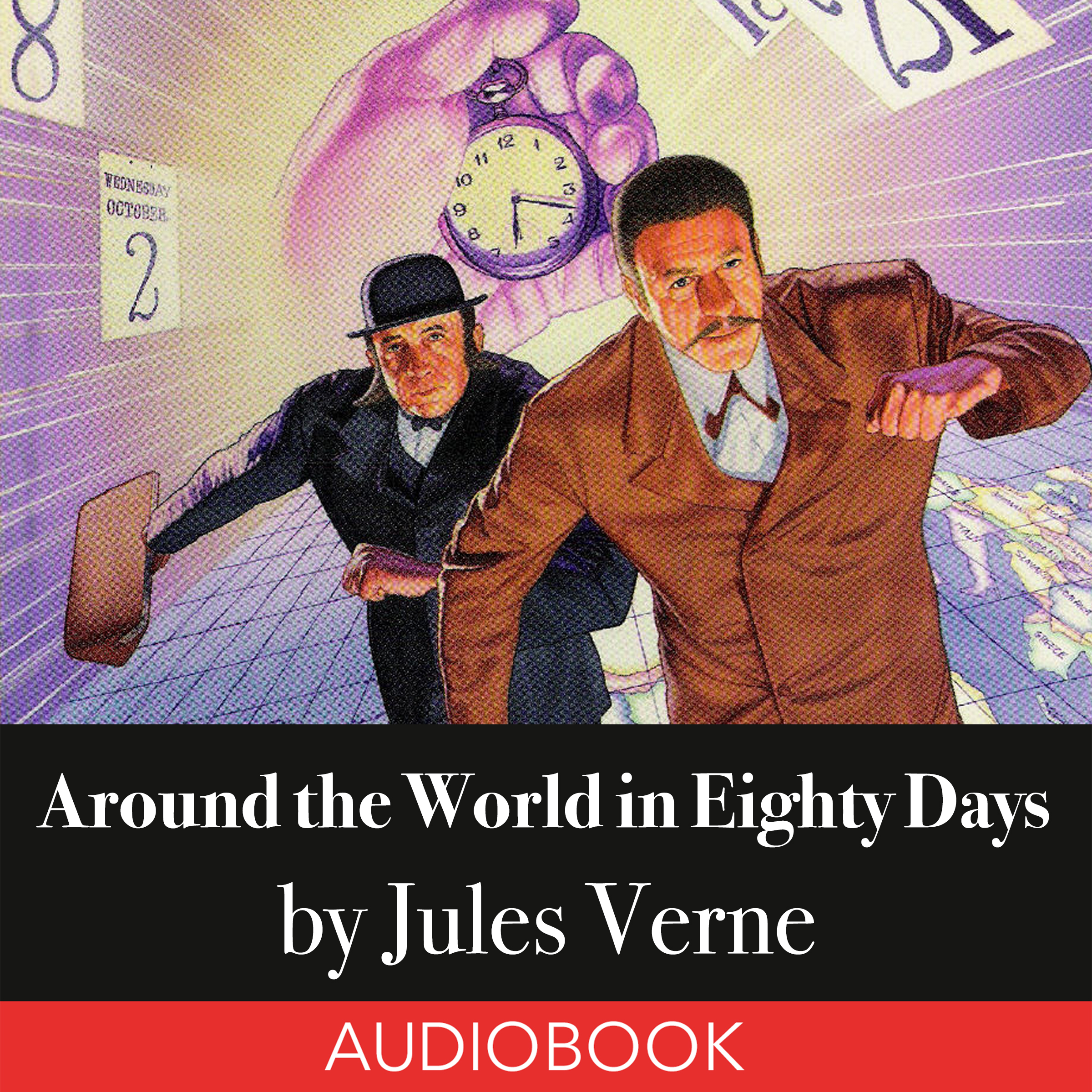Printable Around the World in Eighty Days Audiobook Cover Art