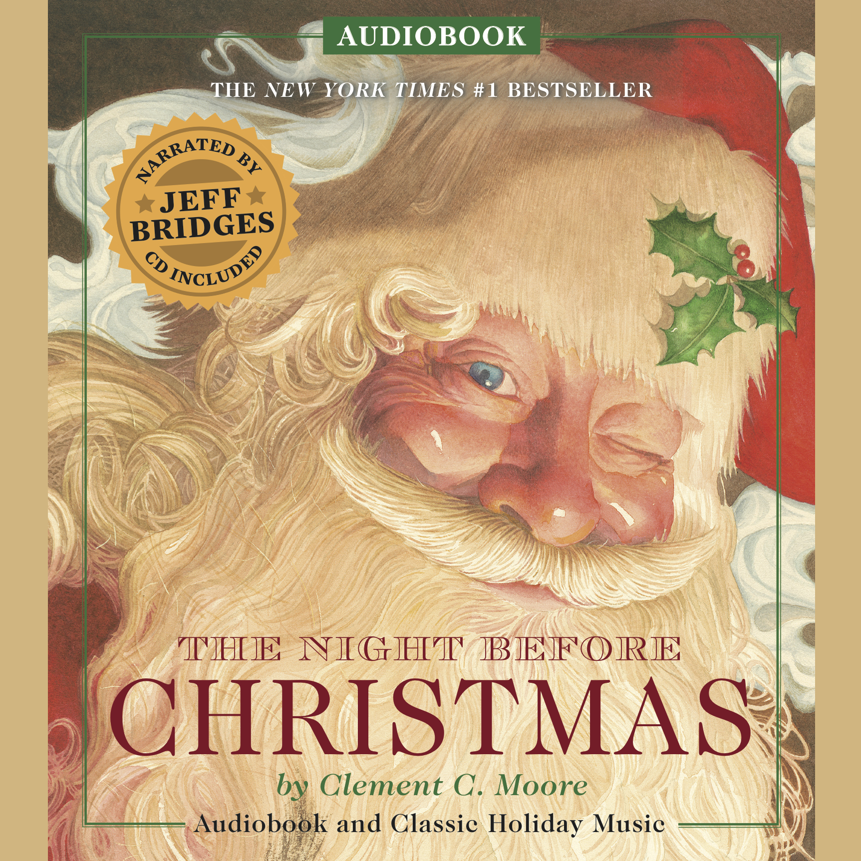 Printable The Night Before Christmas: Narrated by Academy Award-Winner Jeff Bridges Audiobook Cover Art