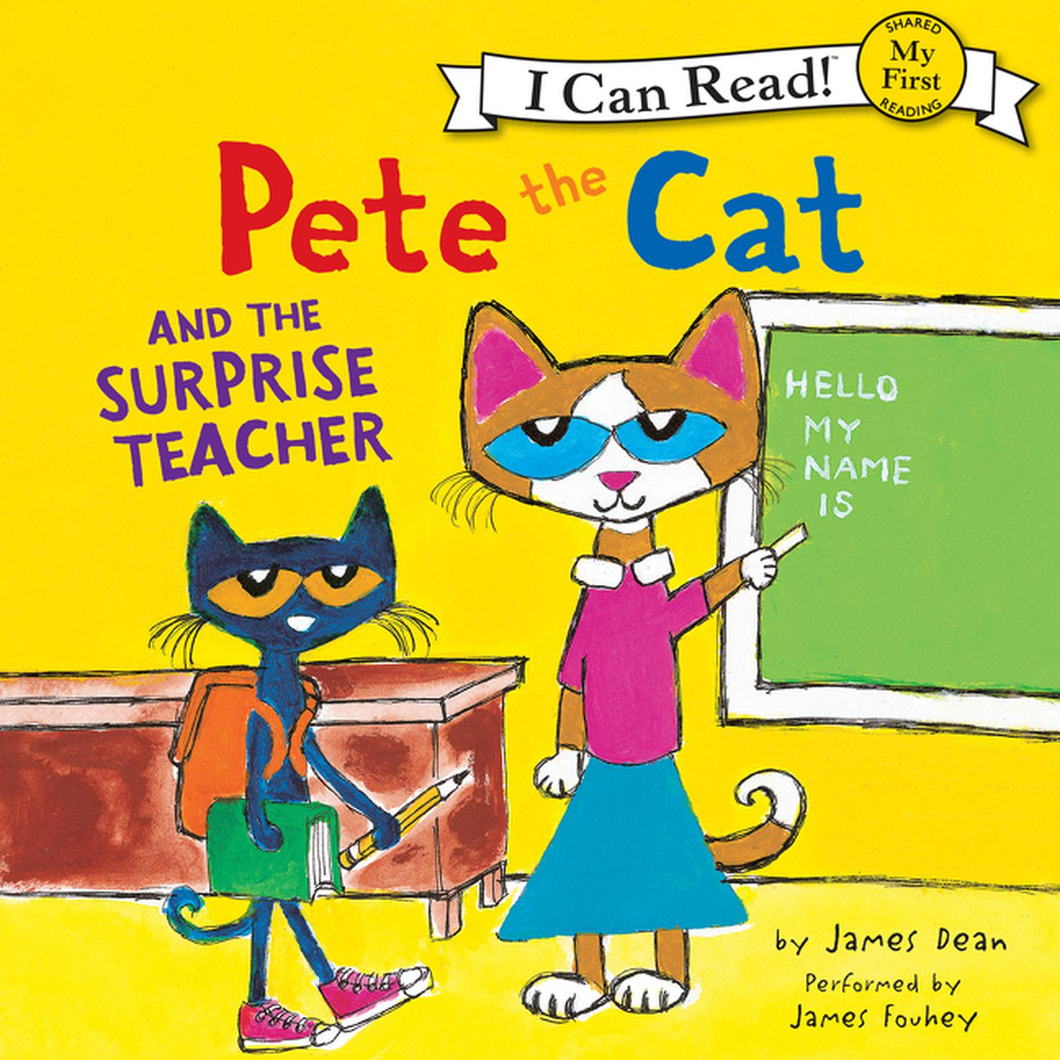 Printable Pete the Cat and the Surprise Teacher Audiobook Cover Art