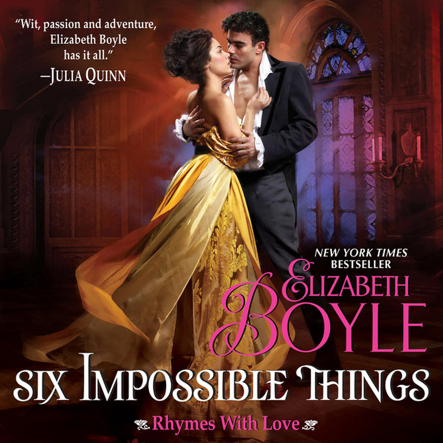 Printable Six Impossible Things: Rhymes With Love Audiobook Cover Art
