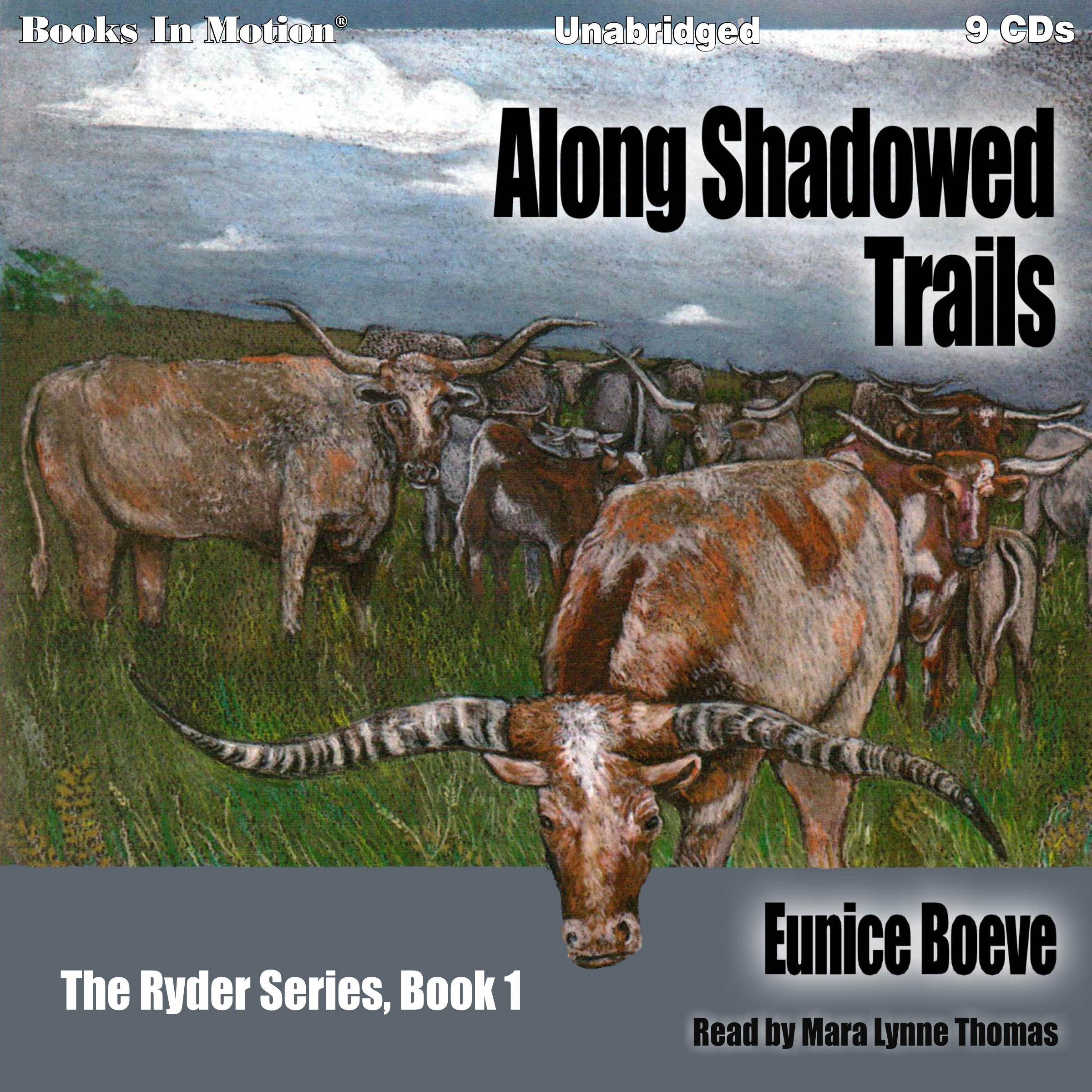 Printable Along Shadowed Trails Audiobook Cover Art