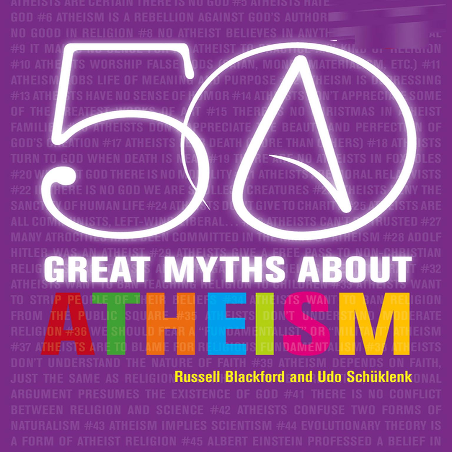 Printable 50 Great Myths About Atheism Audiobook Cover Art