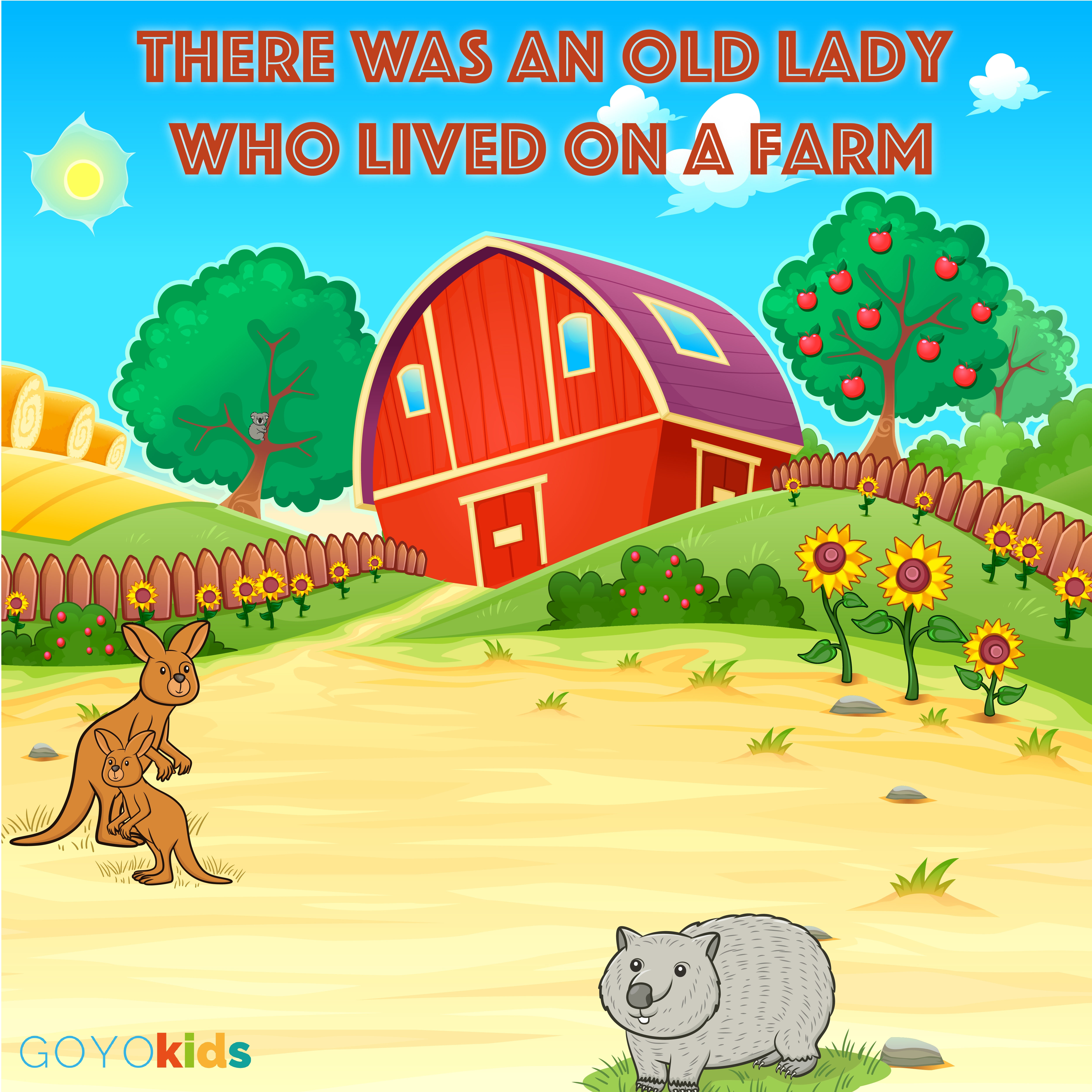 Printable There Was an Old Lady Who Lived on a Farm: A Kids Yoga Story Audiobook Cover Art