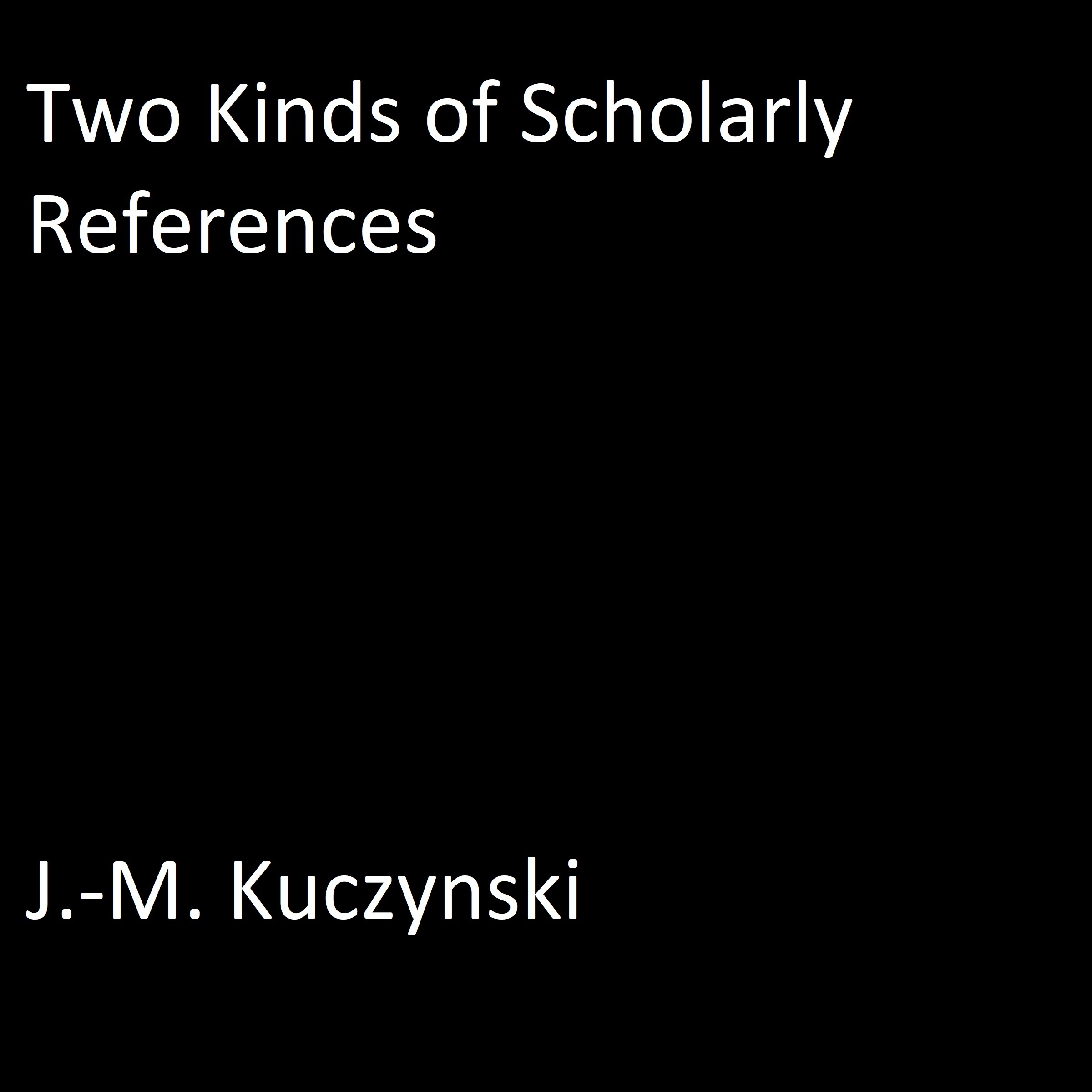 Printable Two Kinds of Scholarly References Audiobook Cover Art