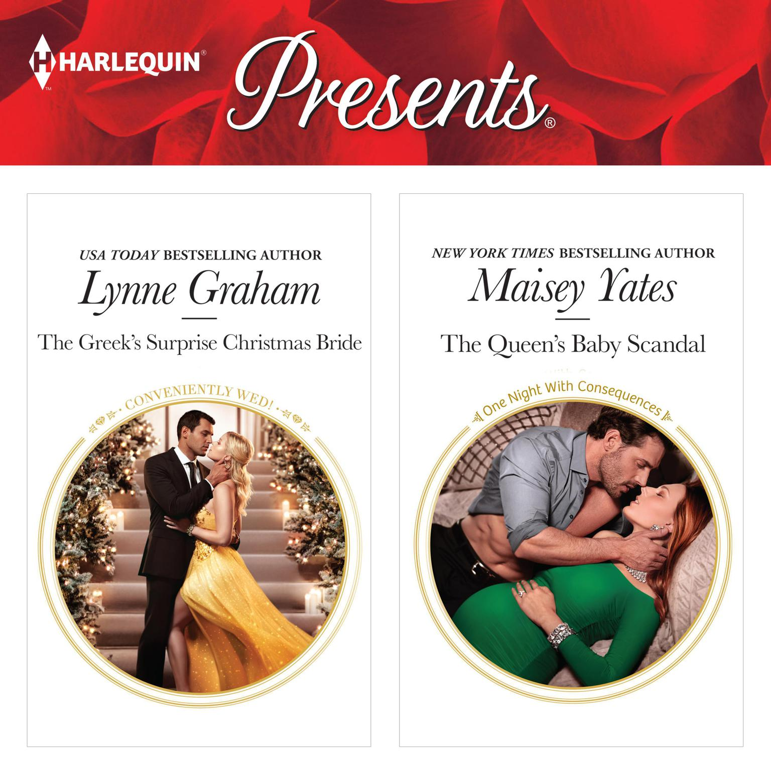 The Greeks Surprise Christmas Bride & The Queens Baby Scandal Audiobook, by Lynne Graham