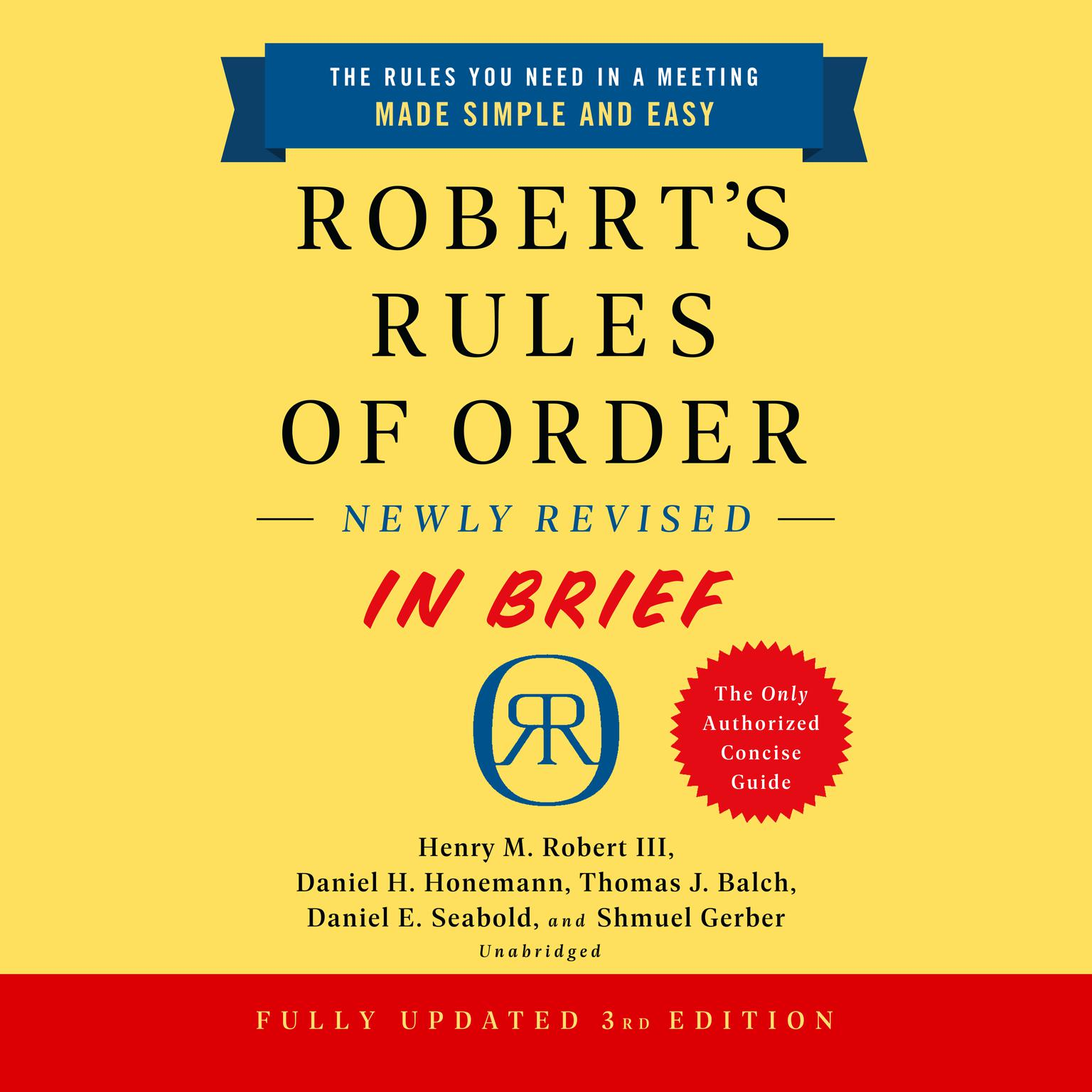 Printable Robert's Rules of Order Newly Revised In Brief, 3rd edition Audiobook Cover Art