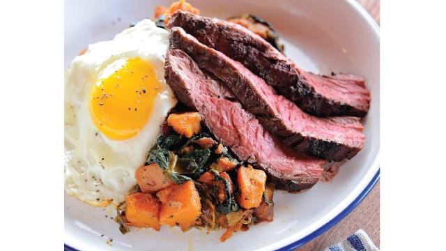 """Blackened"" Hanger Steak with Sweet Potato Hash and Fried Egg"