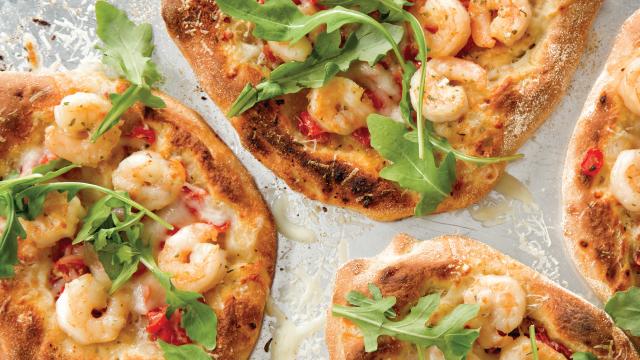 Individual Shrimp Scampi Pizzas