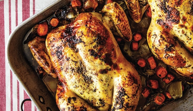 Oven-Roasted Chicken with Roasted Red Bliss Potatoes and Cauliflower Florets