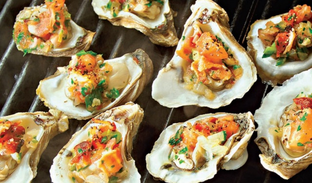 Grilled Oysters with Bacon, Tomato & Tarragon