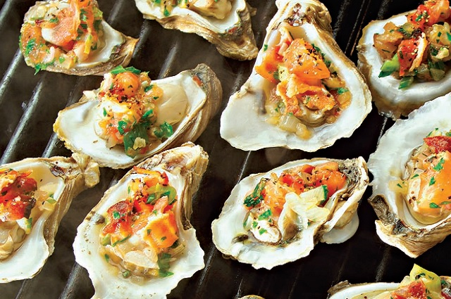 Grilled Oysters with Bacon, Tomato & Tarragon - Tailgater
