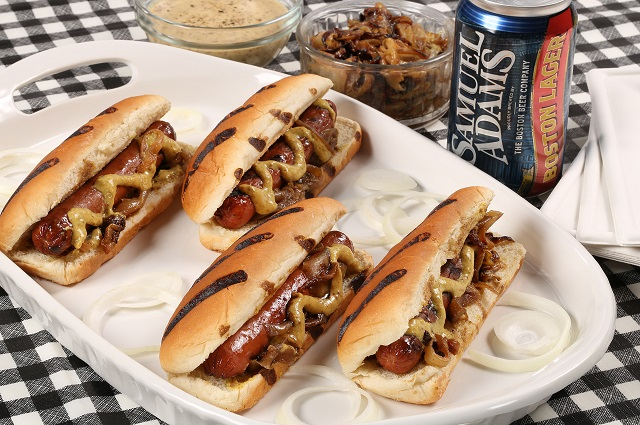 Grilled Hotdogs with Samuel Adams Mustard
