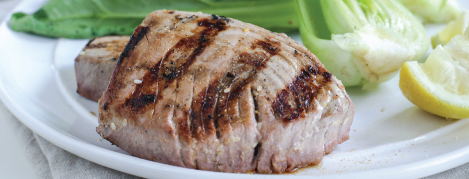 Grilled Tuna Steaks with Lemon Aioli and Grilled Bok Choy