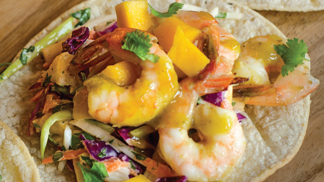 Salsa Verde Shrimp Tostadas