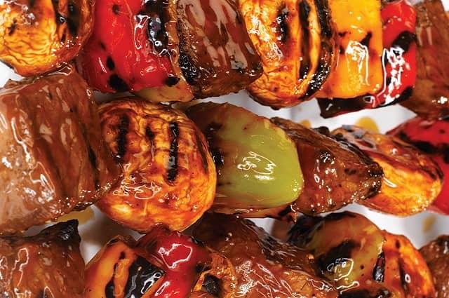 Beef, Mushroom and Pepper Shish Kebabs