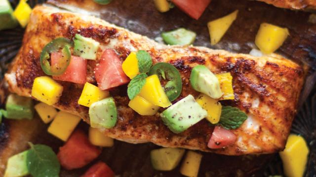 Planked Salmon with Mango & Watermelon Salsa