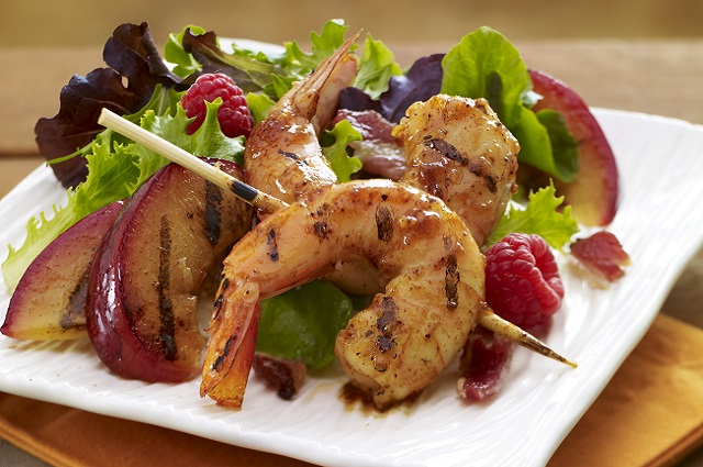 Applewood Grilled Shrimp and Plum Salad