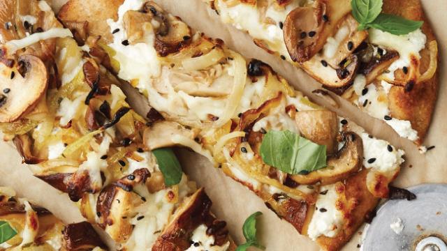 Farmers' Market Mushroom Flatbread Pizza