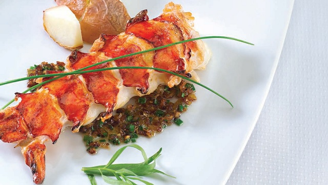CB's Grilled Lobster Tail with Bourbon-Herb Sauce