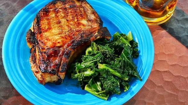 Grilled Pork Chops with Knob Creek Lemon Glaze