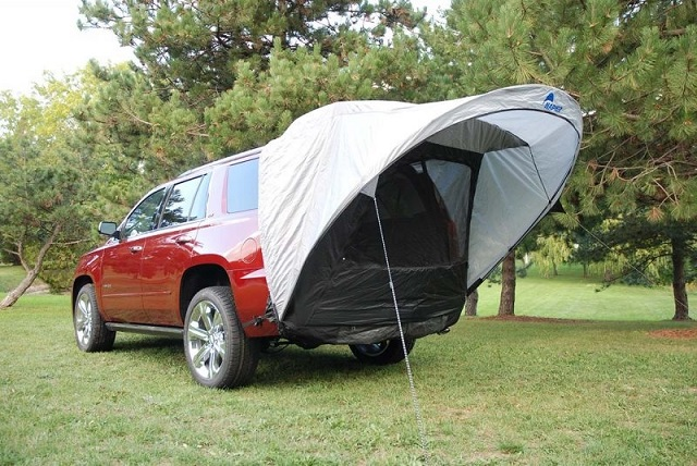Be sure to include this tent on your tailgate gear checklist! The compact lightweight awning effortlessly connects to a mid to full-size SUV or minivan. & Napier Outdoors Sportz Cove Tent - Tailgater Magazine