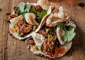 Chili Rubbed Pork Tacos & 4505 Chicharrones