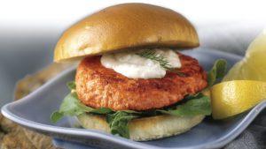 MacKnight Salmon Burgers with Lemony-Dill Sauce