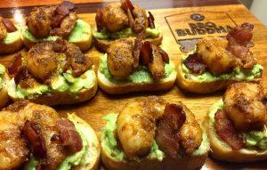 Grilled Barbecue Shrimp and Avocado Crostini