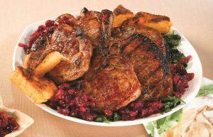 Smoked Pork Chops with Polenta & Cranberry Chutney