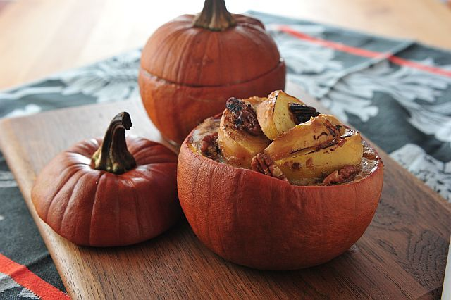 Roasted Apple Pies in Pumpkin Shells