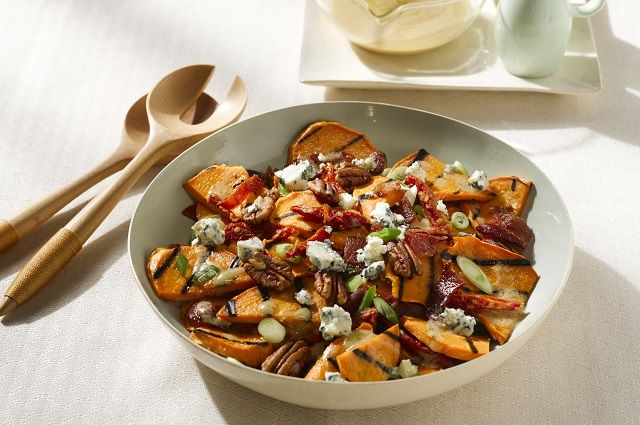 Grilled Sweetpotato Salad & Hot Bacon Dressing