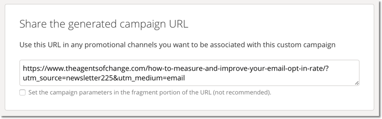 Campaign URL Builder: Results