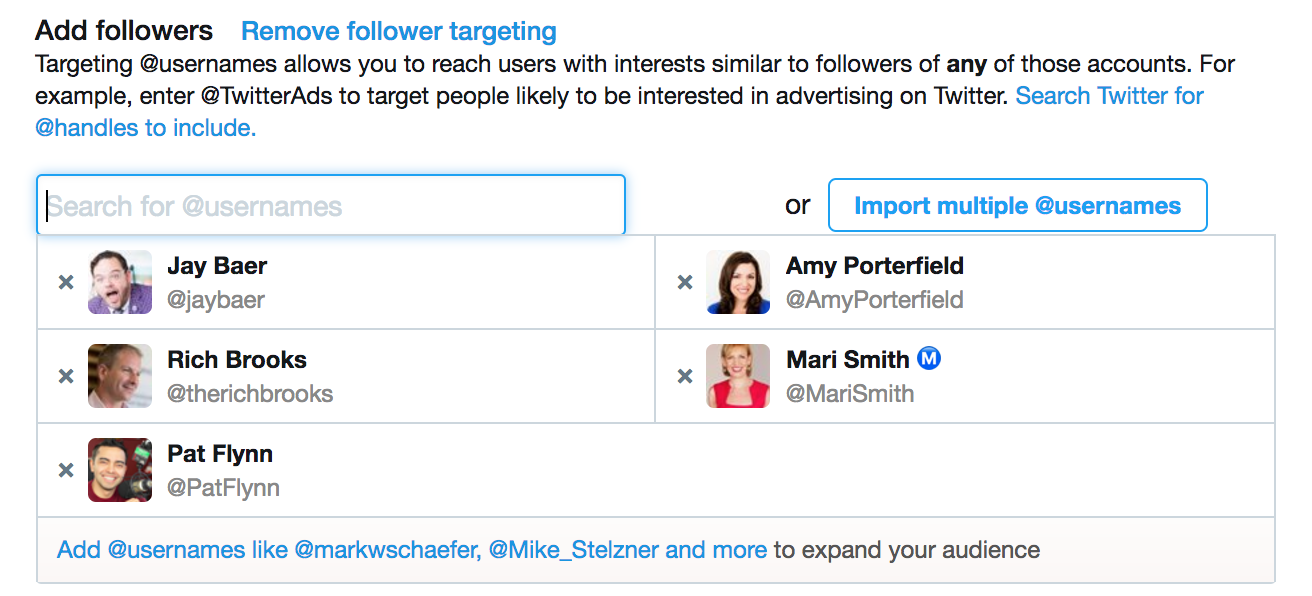 Twitter handle targeting