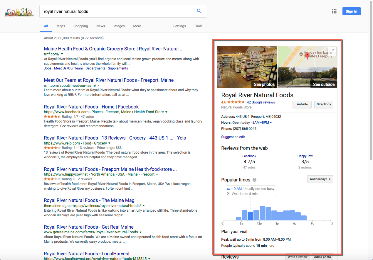 Google SERP Knowledge Panel