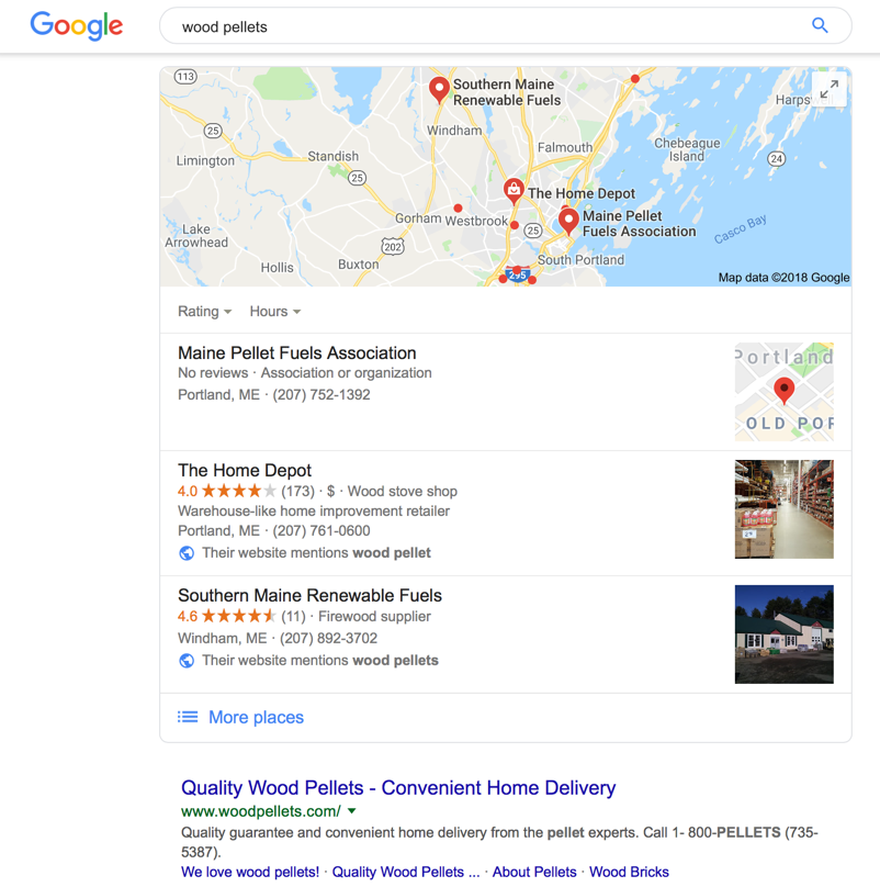Search showing local results