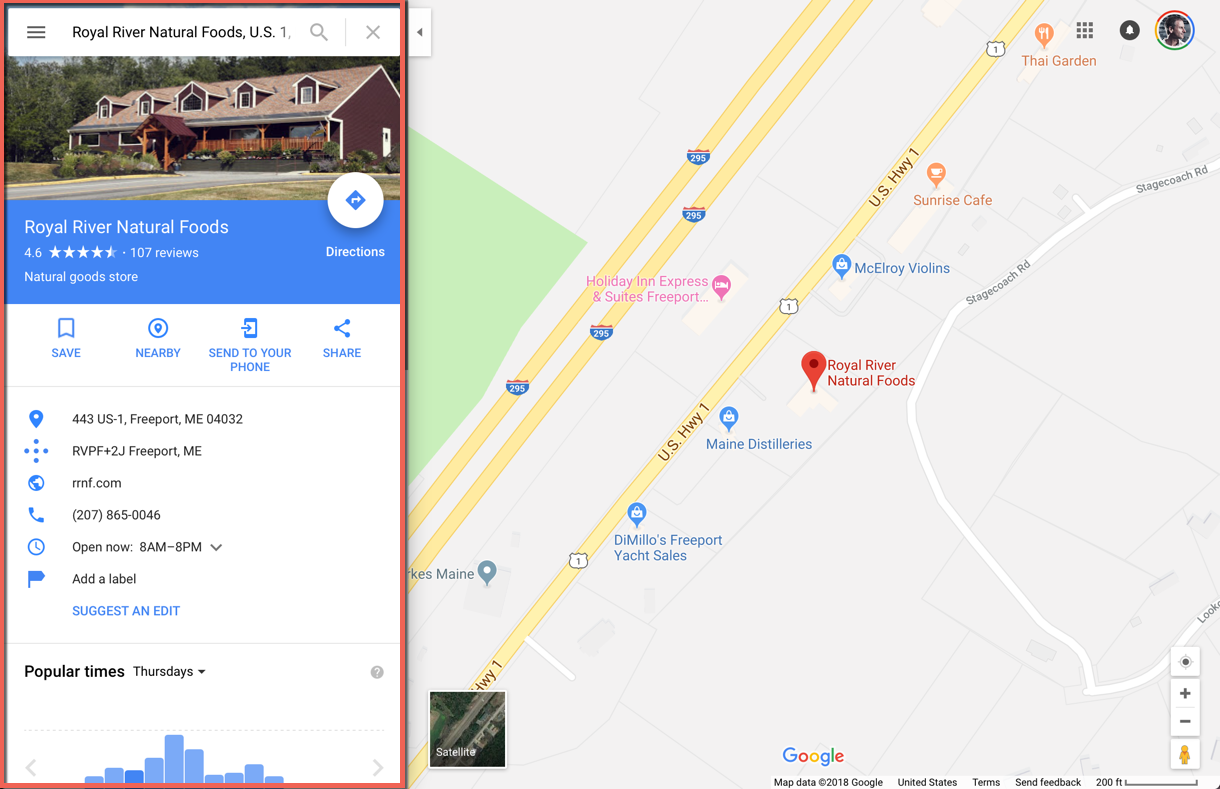 Google My Business Results in Google Maps