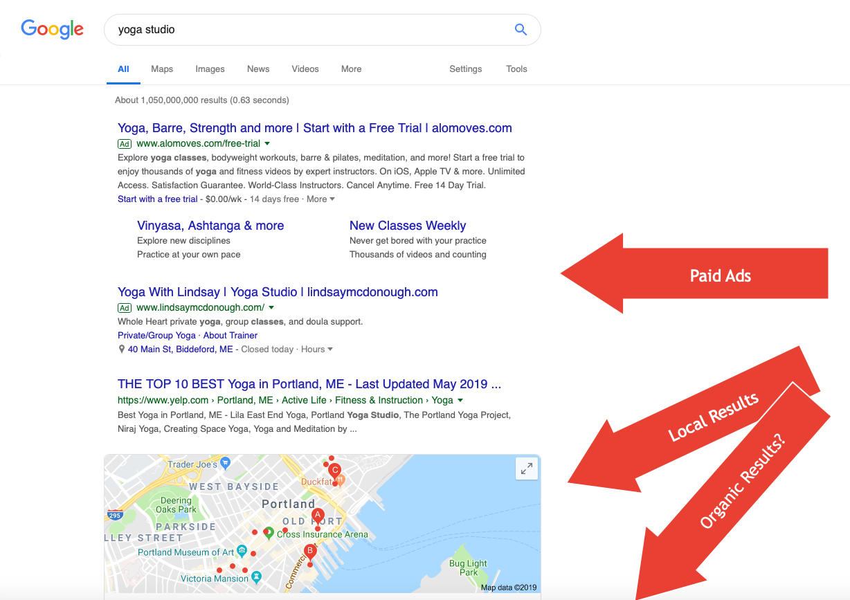 Paid Search Results trump Local and Organic results