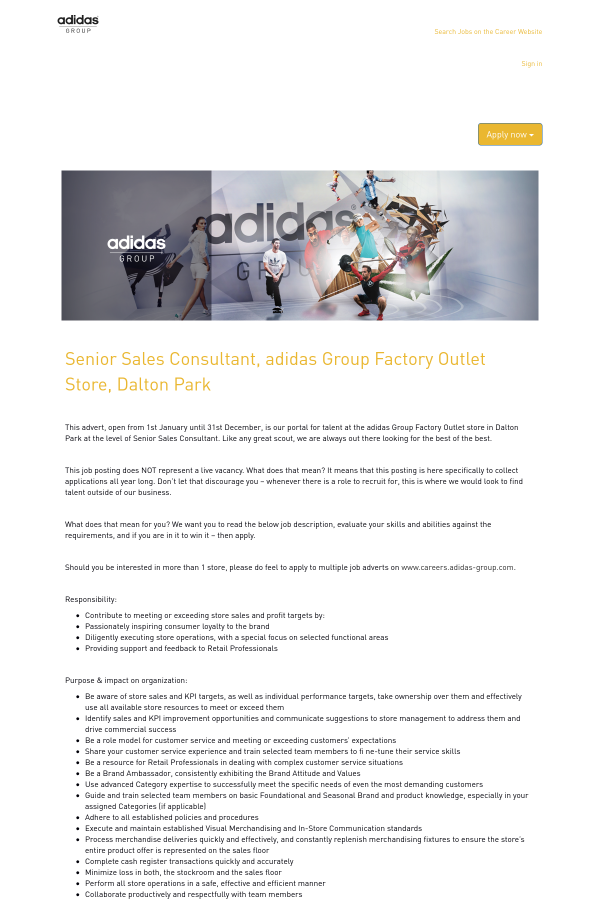 adidas factory outlet jobs
