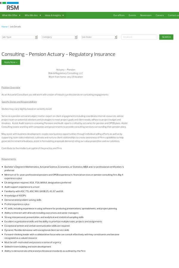 Consulting Pension Actuary Regulatory Insurance Job At Rsm In