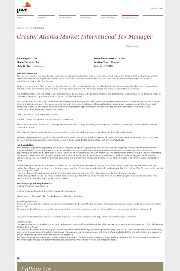 Greater Atlanta Market International Tax Manager Job At