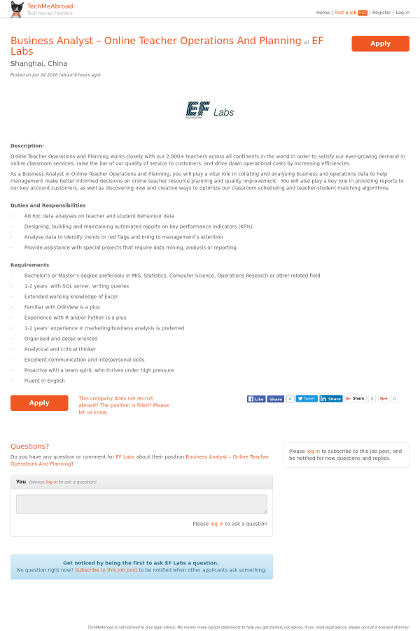 Business Analyst - Online Teacher Operations and Planning job at EF