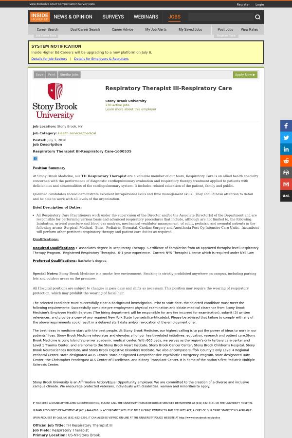 Respiratory Therapist III - Respiratory Care job at Stony Brook