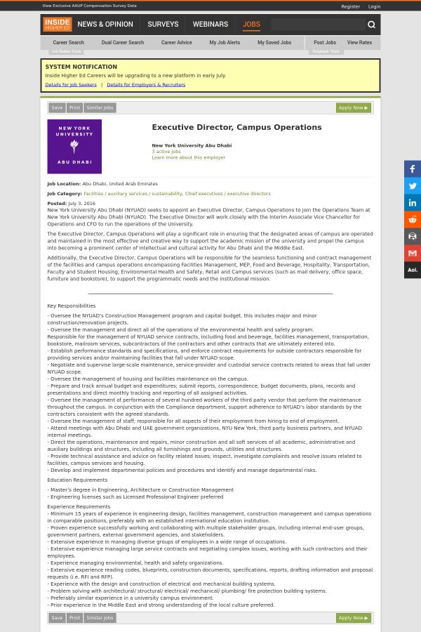 Executive Director, Campus Operations job at New York