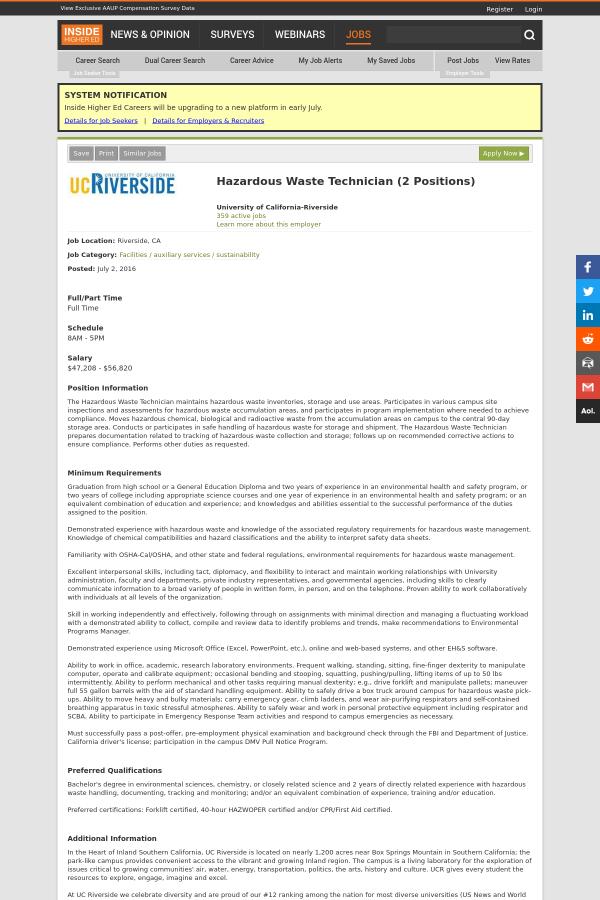 Hazardous Waste Technician Job At University Of California Riverside