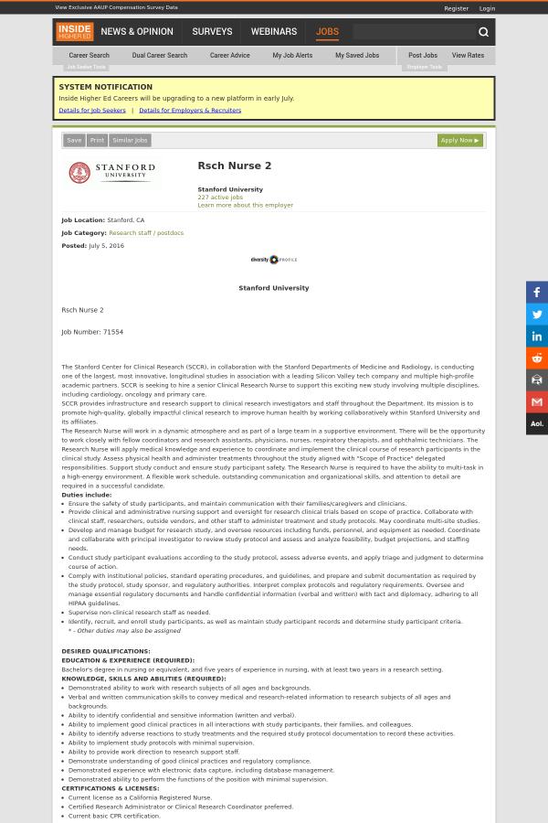 Rsch Nurse 2 job at Stanford University in Stanford, CA - 4133979