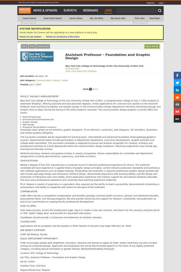 Assistant Professor - Foundation and Graphic Design job at
